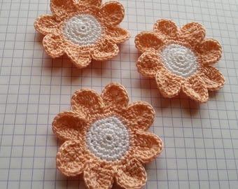 Salmon and white Crochet Cotton Flower applique