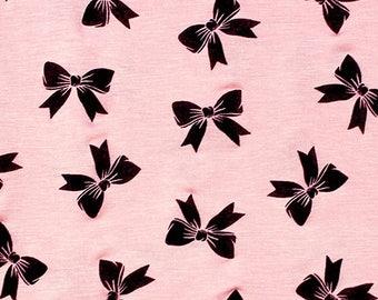 Black Bows on Pink Jersey Blend Knit Fabric **UK Seller**