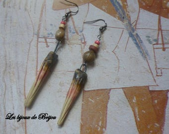 Earrings long ceramic beads seeds rosewood beige and taupe