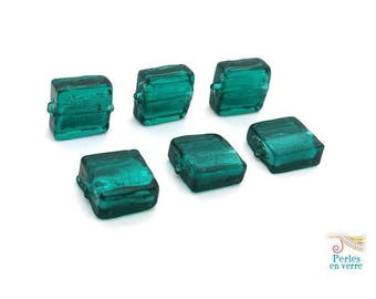 6 Teal blue square beads 12mm (pv196) silver foil