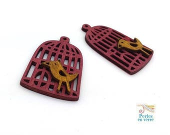 1 pendant bird cage wooden yellow and Red 24x42mm (pb77)