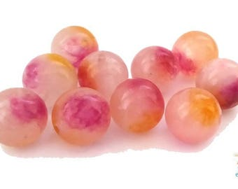 10 jade beads 10mm, two-tone pink/orange tones (pg108)