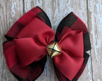 Jingle Bell Buffalo Plaid Hair Bow