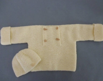 Baby sweater jacket and beige Hat set