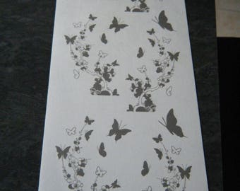 set of 3 applique transfers for ceramic, plastic and glass with white pattern with flowers and butterflies