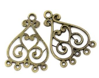 Heart filigree Bronze 33 x 23 mm 2 connectors