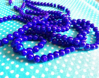 6 mm / 25 6 mm Navy glass beads