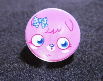 button round 25mm pink and blue