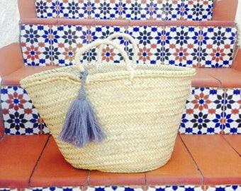 ANA- Boho Ibiza Straw Basket - Moroccan Market Shopping Beach Bag- Wool Tassel- Bohemian Hippie Style -