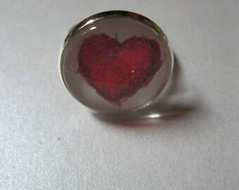 "Vintage/retro metal ring with cabochon glass 18mm Valentine ""Coeurs.Paillettes.lèvres"""