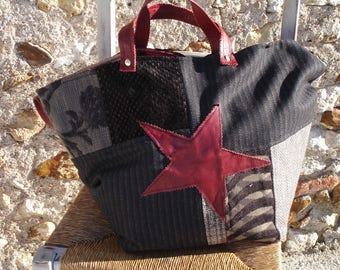 Tote - patchwork - black fabric - velvet - Burgundy leather