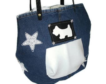 Tote - Jean - star lace - White leather