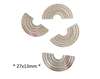 Set of 4 prints half moon silver filigree, 27mm - CZ - I4