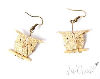Origami OWL earrings / mustard yellow OWL