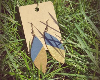 Lagoon blue and gold leaf earrings