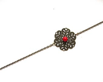 Bronze and red rose print headband