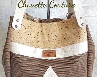 Tote bag shoulder leather handles in faux leather with Brown inserts / beige