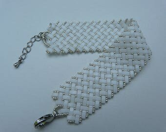 White woven cuff bracelet