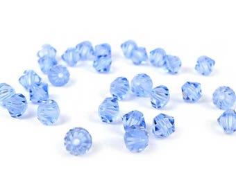 50 x® 4 mm LIGHT SAPPHIRE Swarovski Crystal bicones