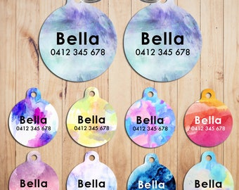 Metal Steel Personalized Pet Tags cat Tag dog Tag Custom ring Name Tags Water colour hand made print