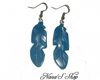 Earrings feather, blue polymer clay,