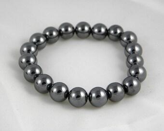 Mens Hematite bracelet is elastic