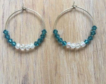 Blue and transparent glass beads and hoop earrings