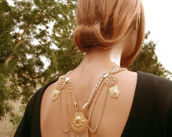 Back rosettes and waterfalls jewel chains