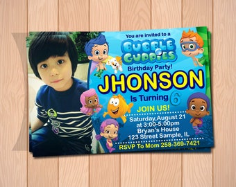 Bubble guppies birthday, bubble guppies invitation, bubble guppies party, bubble guppies printable, bubble guppies card with photo