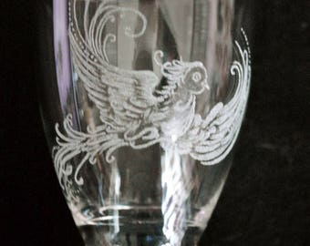 """Etched glass """"bird"""""""