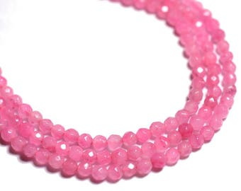 Wire 39cm 93pc approx - balls 4 mm faceted Jade beads - pink