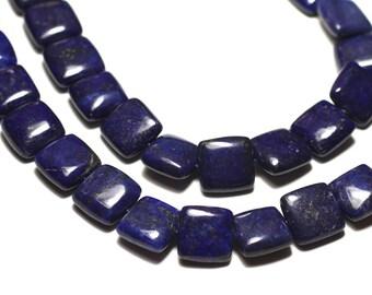 Wire 39cm 32pc env - stone beads - Lapis Lazuli square 12 mm