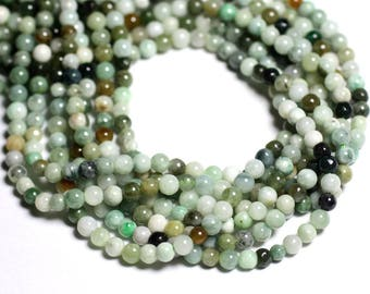 Wire 39cm env - stone beads - Jade 100pc natural Burma balls 4 mm