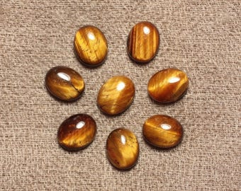 2PC - 4558550030801 - 10x8mm oval Tiger eye - stone Cabochon