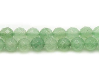 10pc - stone beads - green Aventurine 6mm 4558550038142 faceted balls