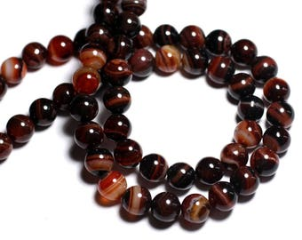 10pc - stone beads - black and Red Agate beads 8mm - 8741140000568
