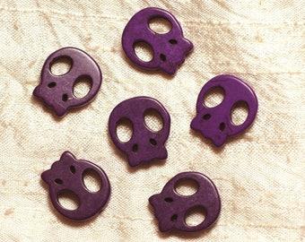 5pc - skull skull purple 20mm 4558550034366 beads