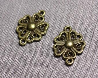 10pc - connectors pendants Earrings Metal Bronze flower clover 4 leaf 20mm - 4558550095282