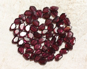10pc - stone beads - faceted Garnet 6-8mm 4558550004390