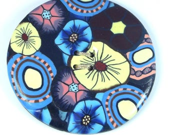 Large 4.5 cm round sewing button Navy Blue and light yellow Japanese fabric effect.