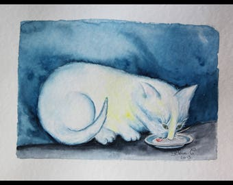 Original illustration painted in watercolor on ARCHES 300 g/m²chat/cat/Mandarin /.