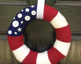 Patriotic Handmade Yarn Wreath