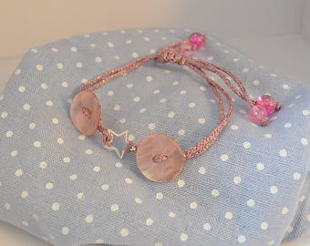 Bracelet adjustable 925 sterling silver and Pearl button