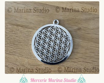 Pendant flower of life silver matte 44mm x 40mm