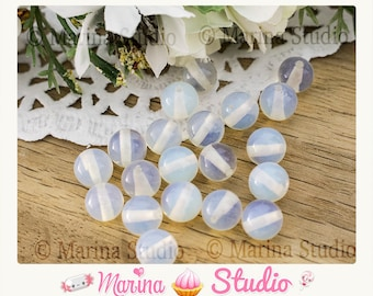 10 white opaline beads natural 8mm - round beads