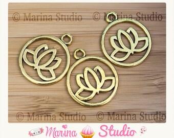 2 20mm gold metal lotus charms
