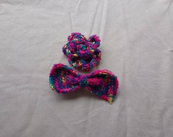 Large crochet bows.