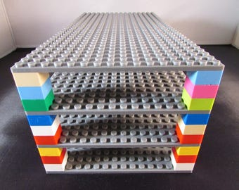 "4 Lego Compatible 5""x10"" Stackable Base Plates and 1 Genuine Lego Brick"
