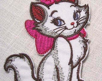 MARIE bow pink white cat - Patch embroidered patch Thermo * 6 x 8 cm *.