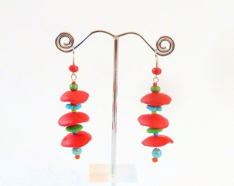 Earrings Korole polymer clay Red ° °